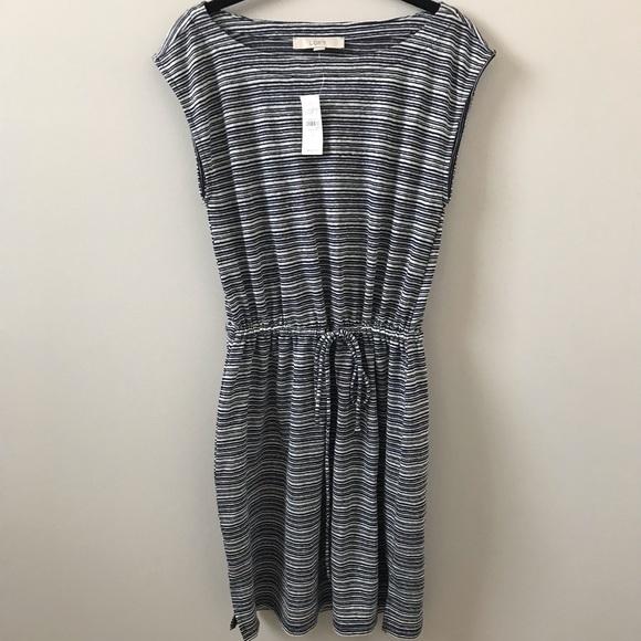 LOFT Dresses & Skirts - Loft Navy Striped Dress, Size S